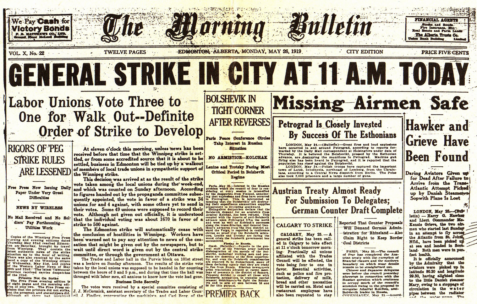 May 26 1919 Newspaper Cover on Winnipeg Strike